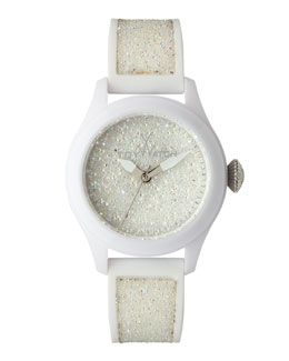 Toy Watch Glitter Silicone Watch, White