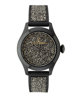 Toy Watch Glitter Silicone Watch, Black