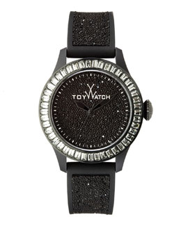 Toy Watch Baguette-Bezel Glitter Silicone Watch, Black