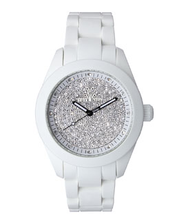 Toy Watch Velvety Full Pave Crystal Silicone Watch, White