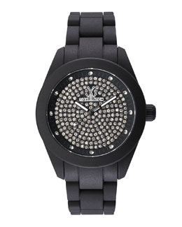 Toy Watch Velvety Full Pave Crystal Silicone Watch, Black