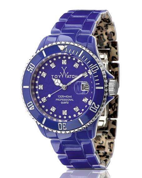 ToyMrHyde Two-Tone Plasteramic Watch, Leopard/Purple