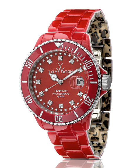 ToyMrHyde Two-Tone Plasteramic Watch, Leopard/Red