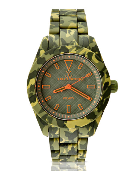 Velvety Camo Silicone Watch, Olive Green