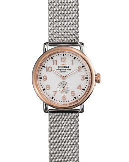 Shinola The Runwell Rose Golden Watch with Stainless Strap, 41mm