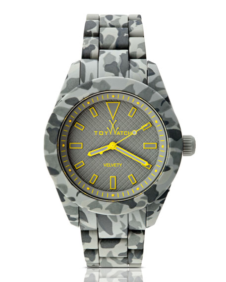 Velvety Camo Silicone Watch, Gray