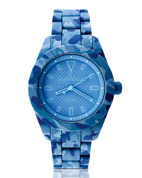 Velvety Camo Silicone Watch, Blue