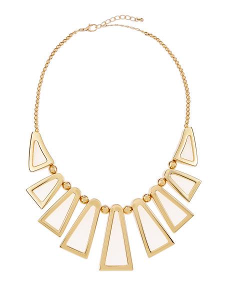 Golden Open Triangle Bib Necklace
