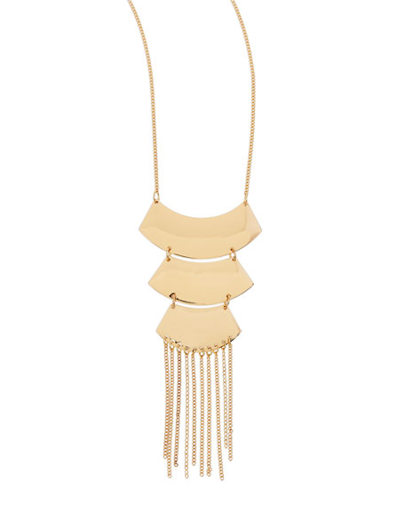 Golden Three-Tier Fringe Necklace
