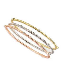 Jules Smith Mixed Metal Rhinestone Bangles, Set of 3