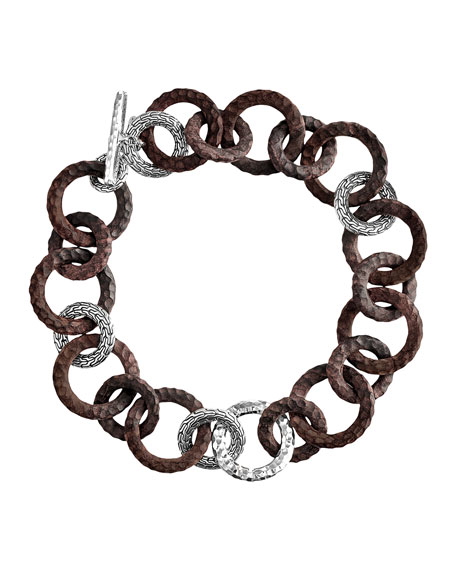 """Rosewood & Silver Link Necklace, 18""""L"""