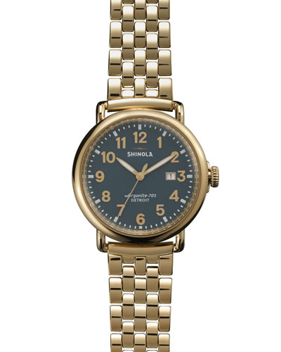 Shinola The Runwell Yellow Golden Green-Dial Watch with Bracelet Strap, 41mm