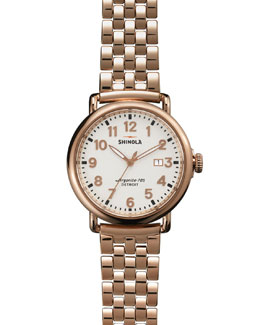 Shinola The Runwell Rose Gold Watch with Bracelet Strap, 41mm