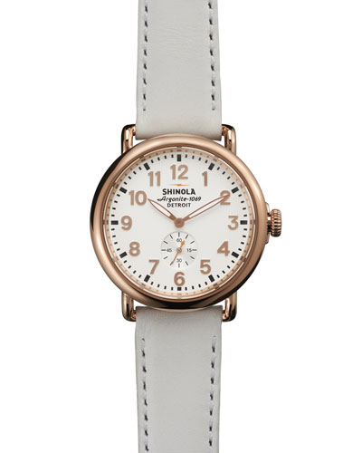 Shinola The Runwell Rose Gold Watch with White Leather Strap, 41mm