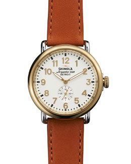 Shinola The Runwell Yellow Gold Watch with Orange Leather Strap, 41mm
