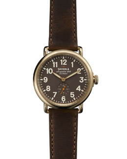 Shinola The Runwell Yellow Gold Watch with Brown Leather Strap, 41mm