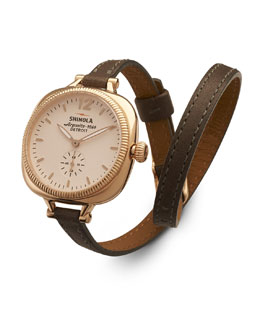 Shinola The Gomelsky Rose Golden Watch with Double-Wrap Leather Strap, Gray