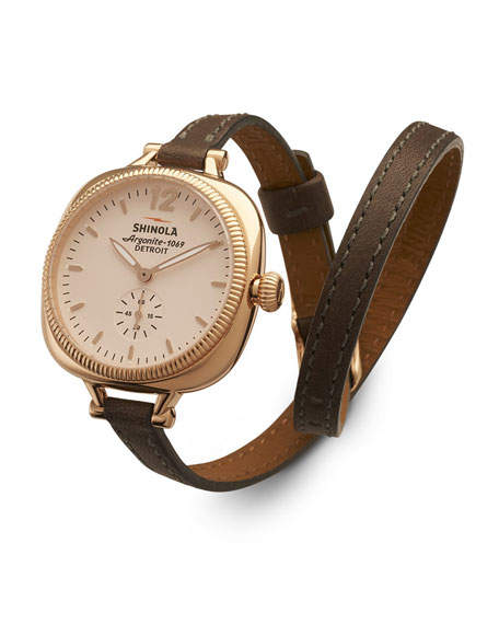 The Gomelsky Rose Golden Watch with Double-Wrap Leather Strap, Gray