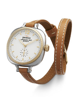 Shinola The Gomelsky Two-Tone Watch with Double-Wrap Leather Strap, Natural