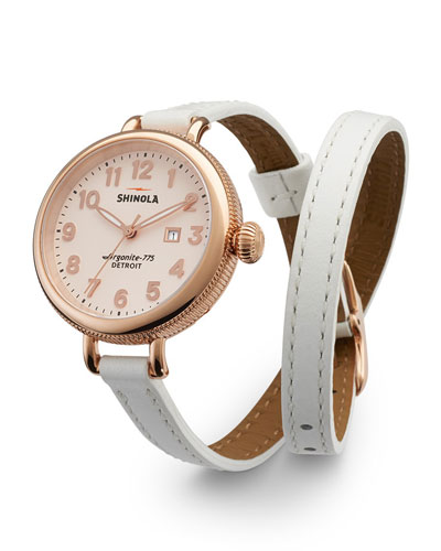 Shinola The Birdy Rose Golden Double-Wrap Watch, 34mm