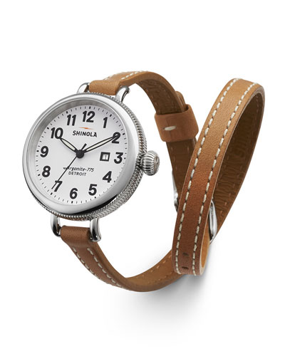 Shinola The Birdy Stainless Double-Wrap Watch, 34mm