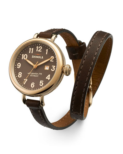 Shinola The Birdy Polished Golden Double-Wrap Watch, 34mm