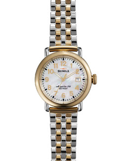 Shinola The Runwell Two-Tone Watch with Bracelet Strap, 36mm