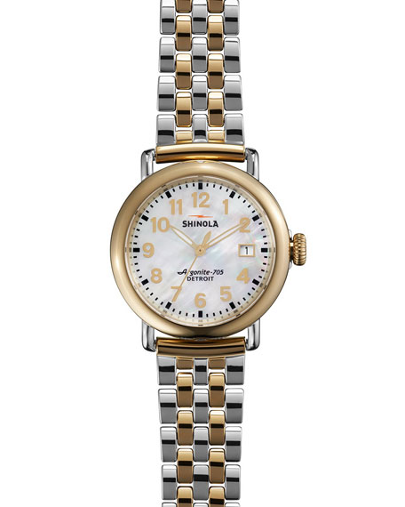 Shinola The Runwell Two-Tone Watch with Bracelet Strap,