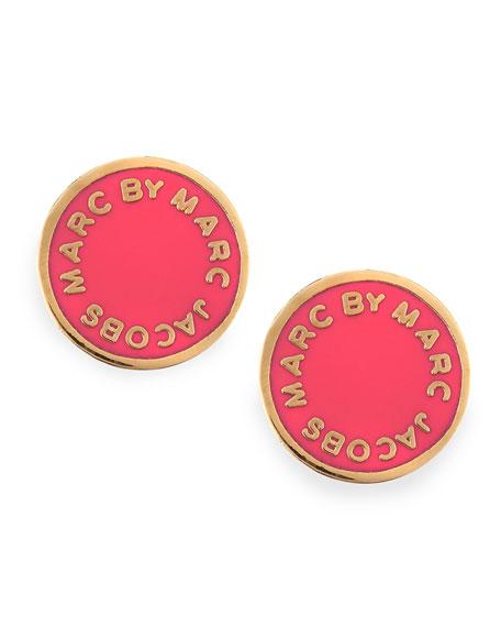 Enamel Logo Disc Stud Earrings, Hot Pink