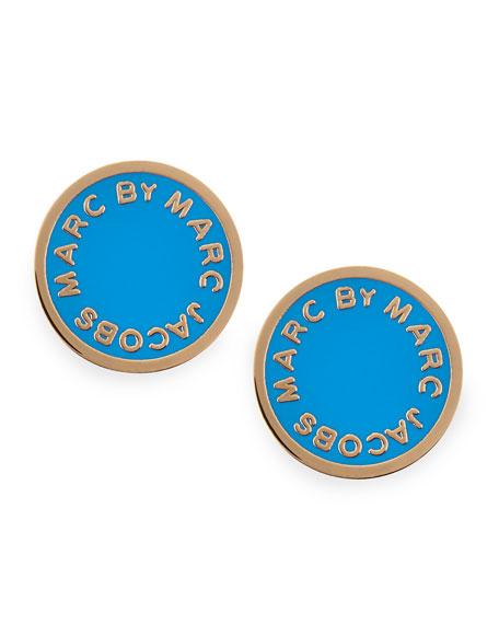 Enamel Logo Disc Stud Earrings, Blue