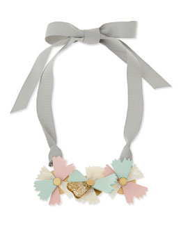 MARC by Marc Jacobs Large Bouquet Ribbon Necklace, Gray/Green/Pink