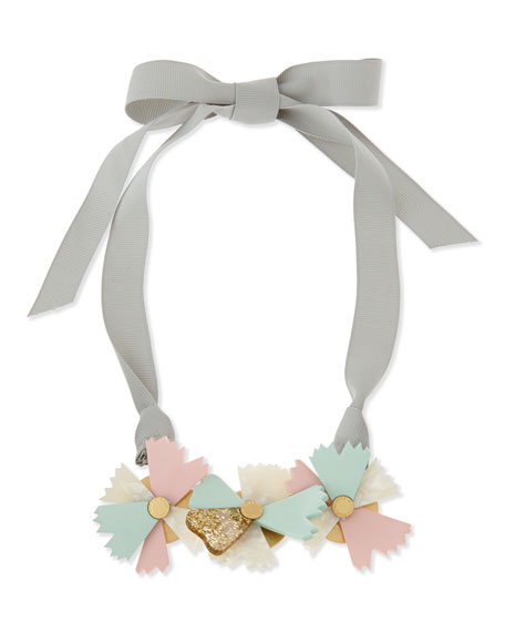 Large Bouquet Ribbon Necklace, Gray/Green/Pink