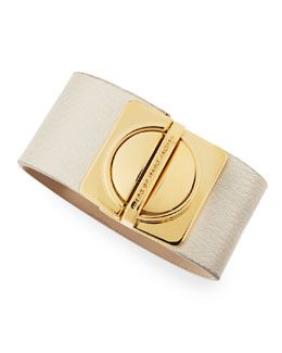 MARC by Marc Jacobs Circle-in-a-Square Logo Clasp Leather Bracelet, White