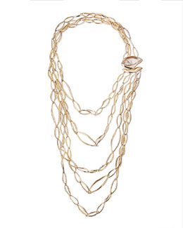 Alexis Bittar Golden Layered Infinity Necklace with Rutilated Quartz Clasp