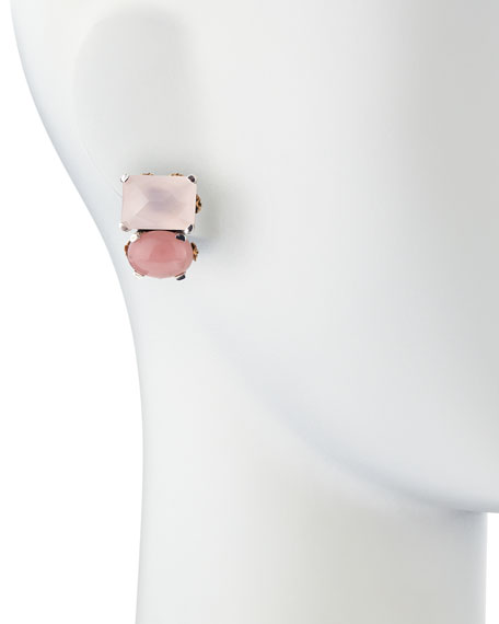 Rose Quartz & Pink Chalcedony Cluster Clip-On Earrings
