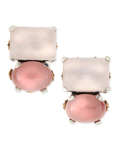 Stephen Dweck Rose Quartz & Pink Chalcedony Cluster Clip-On Earrings