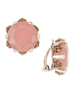 Stephen Dweck Pink Chalcedony Stud Clip-On  Earrings