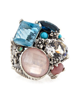 Stephen Dweck Nouveau Beaded Multi-Stone 5-Row Ring