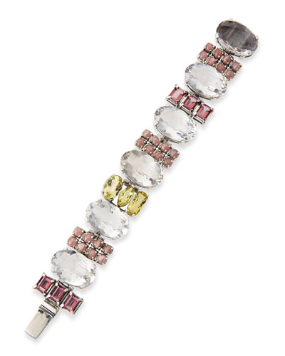Multi-Stone Rock Crystal, Quartz & Rhodochrosite Bracelet