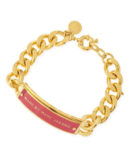 Enamel ID Bracelet, Pink/Golden