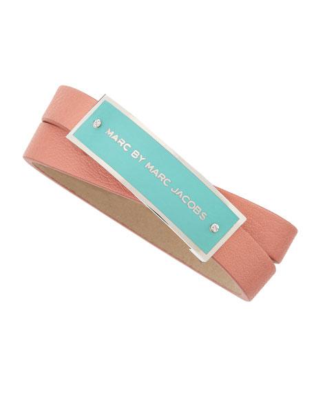 Enamel Logo ID Leather Wrap Bracelet, Pink/Mint/Silvertone
