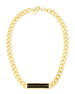 MARC by Marc Jacobs Chunky Enamel ID Necklace, Black/Golden