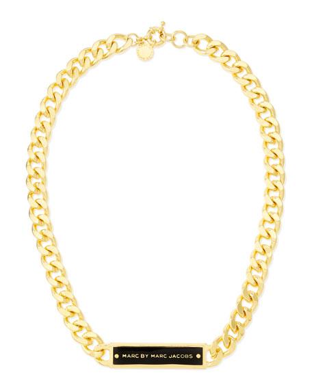 Chunky Enamel ID Necklace, Black/Golden