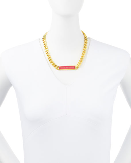 Chunky Enamel ID Necklace, Pink/Golden