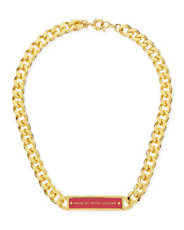 MARC by Marc Jacobs Chunky Enamel ID Necklace, Pink/Golden