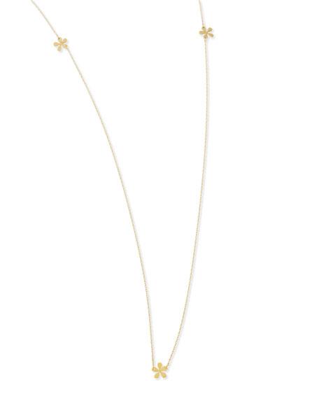 """Long Mini Flower Necklace, 37""""L"""