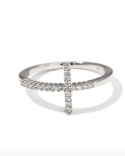 White Gold Diamond Cross Ring