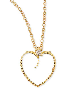 Roberto Coin 18k Yellow Gold Diamond White Heart Pendant Necklace