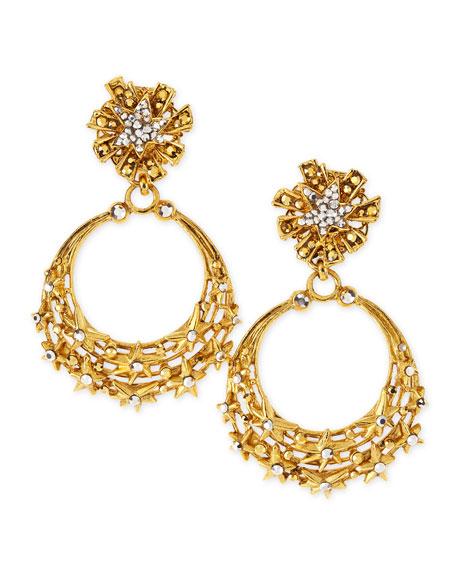 Glittering Golden Star Clip Earrings