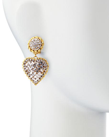 Crystal Heart Drop Clip-On Earrings, Clear